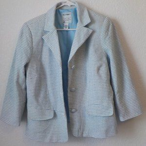 Old Navy Blazer Large Blue White Linen Cotton